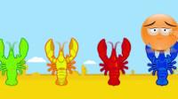 少儿色彩启蒙:把和虾颜色一致的卡通头像放在一起