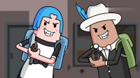 搞笑吃鸡动画:雌雄双煞猪队友般的操作,瓦特一枪没开直接躺着吃鸡