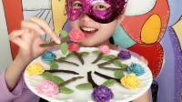 """妹子吃""""玫瑰花巧克力"""",五彩花朵绿叶衬,支支香甜还嘎嘣脆"""