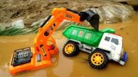挖掘机玩具:挖掘机和工程车施工表演,工程车掉入水里,挖掘机来救援