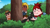 搞笑吃鸡动画:萌妹真不讲道理,霸哥打的人头却说是她的,真替霸哥打抱不平!