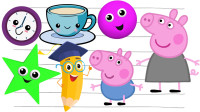 小猪佩奇儿童绘画形状的奇妙旅行儿童英语五角星看到茶杯后变成了