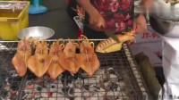 泰国街头肥美的烤鱿鱼,个头大又新鲜!