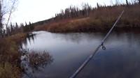 在融化的河里钓鱼。在大水里捕捉鱼