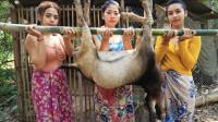 东南亚农村巧妇烤全羊,三姐妹村口烤美味全羊,看得我口水直流!