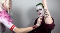 女子装扮成哈莉奎茵,又将男友美妆打扮成了小丑
