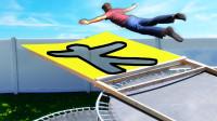挑战人墙游戏加强版!蹦床上一跃而下会怎样?非正确姿势禁止通过!