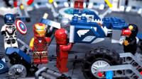 定格动画-乐高复仇者联盟钢铁侠为美国队长搭建机甲摩托车积木