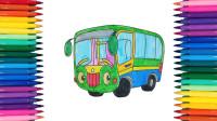 佩奇涂色太友小巴士,涂色换装后的小汽车帅气极了