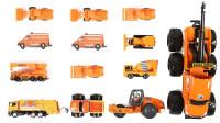 橙色铲雪车垃圾车等汽车玩具