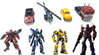 变形金刚电影版大黄蜂粉碎反弹球和擎天柱机器人变形玩具