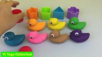 用不同颜色橡皮泥做鸭子,教宝宝认识不同颜色和形状