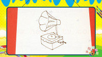 手绘生活简笔画之画唱片机
