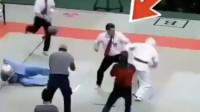 裁判打跆拳道运动员,被众人按倒在地,寻止戈桥咏春