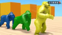 认识动物和颜色 大猩猩小鸭子小熊魔法喷泉变样了 早教