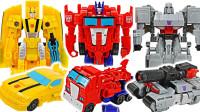 变形金刚赛博志Cyberverse擎天柱大黄蜂和威震天机器人变形玩具