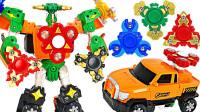 韩国版变形金刚Hello Carbot旋转的指尖陀螺机器人变形玩具