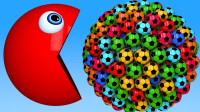 吃豆人:今天吃一些3D足球怎么样?(颜色认知)游戏