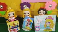 迪士尼小公主准备书画展的作品,安柏公主和白雪公主的作品最优秀