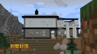 我的世界1.14联机26:黑色混凝土修房檐,能体现别墅的层次感