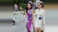 童模宋小睿在街道上飙台步,你们觉得她和她的闺蜜谁更出色?