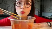 吃播小姐姐哎哟阿尤,吃韩国泡菜汤+菠萝+开胃小菜,看的好饿