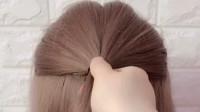 编发教程:一款好看的短发半丸子头发型,轻松扎起来