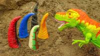 恐龙玩具 谁是谁的尾巴 寻找恐龙和鳄鱼的尾巴有趣的搞笑视频
