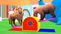 小动物们去室内游乐园玩游戏