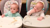 16个月龙凤胎宝宝放餐厅吃饭,接下来小家伙的动作,太可爱逗乐了