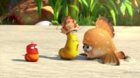 爆笑虫子第四季 小红小黄海边遭遇怪鱼,贱贱的小黄引来一顿捶