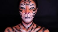 动物仿妆秀,国外小姐姐用超高化妆术将自己画成老虎,网友:这是真的老虎吧
