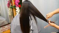 45岁女性及腰长发剪成V形碎发,年轻15岁都不止,典雅有气质