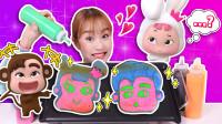 用三种颜色画基尼小兔和姜一猴子 料理游戏pancake art - 基尼