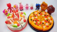 大蛋糕和披萨,这是猪奶奶为佩奇的生日准备的