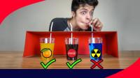 未知盒子中的饮料你敢喝吗?老外作死挑战,选错的后果有点严重!