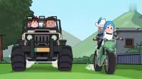 搞笑吃鸡动画:瓦特驾车被两面被包抄?这种小场面,车神一招完美解决!