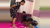 老爸带四胞胎姐妹跳舞,这要是四个儿子,估计大哥就没这么开心了