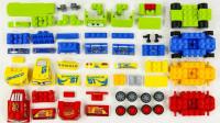 乐高玩具组装彩色赛车