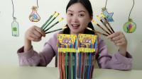 """妹子拆箱""""铅笔糖"""",创意的造型有趣的糖果,清凉爽口好喜欢"""
