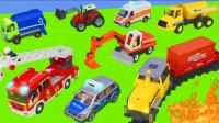 儿童乐高汽车反铲车,卡车和起重机拆箱玩具 - 挖掘机玩具