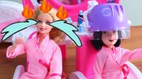 迪士尼公主齐聚叶罗丽美发店!为何有人哭着逃跑?芭比玩具故事