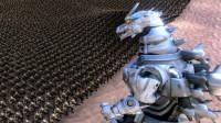 2只机械哥斯拉大战10000个士兵,果然电影里都是骗人的