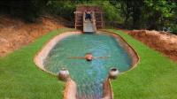 夏季总要清凉一下,东南亚小哥选择野外造泳池,这手艺绝了
