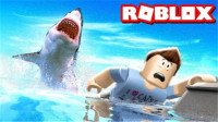 Roblox 大白鲨模拟器!坐在小兔子船上用机枪打鲨鱼!