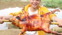 野外烤乳猪,看外皮的颜色就觉得香,一个人可以吃完一整只!
