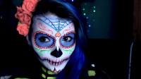 墨西哥头骨黑光化妆艺术教程,这么好看的骷髅妆, 你见过吗?简直太美了