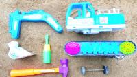 拼装认知挖掘机零部件,组装挖土机玩具视频