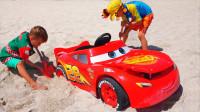 趣味儿童玩具车 乐迪小汽车抛锚了正太用吊钩帮忙  清洗乐迪玩具车