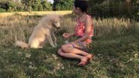 悠闲的午后,农家小妹和狗狗玩耍,小妹开心的奖励狗狗吃零食!